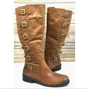 BCBGGeneration Kiev Riding Leather Boots Buckles